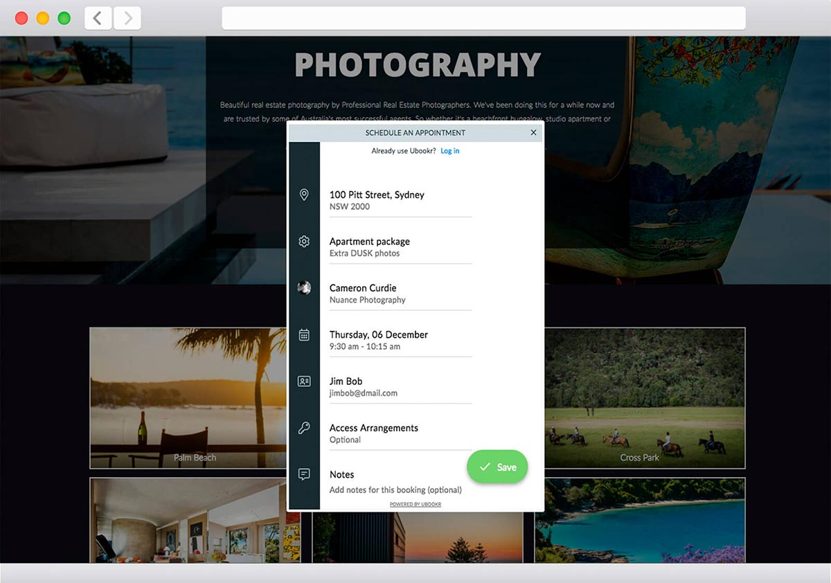 online booking form for photographers